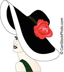 stylish woman with hat single