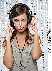 Stylish woman with headphones.