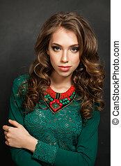 Stylish Woman with Healthy Brown Hair n Blackboard Background, Portrait