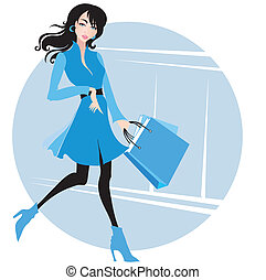 Shopping. Sale - Stylish woman with purchases. Shopping. ...