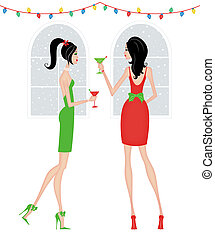 Stylish Women at a Christmas Party