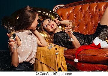 Stylish women celebrating and have fun