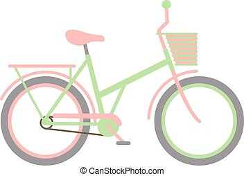Stylish womens green bicycle isolated on white background wheel pedal transportation vector.