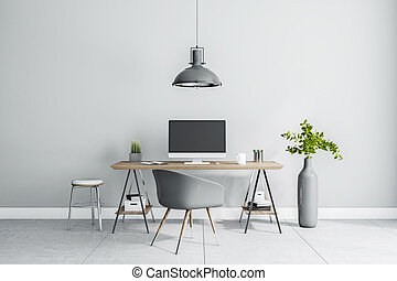 Stylish work place interior design in sunny home room with grey lamp, chair, vase and wooden table