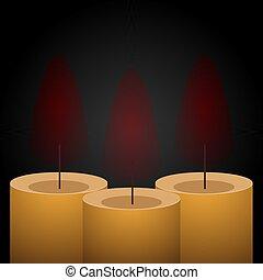 Stylish yellow candle vector design illustration isolated