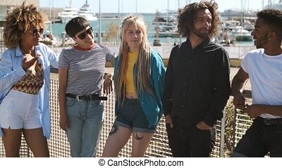 Stylish young friends on street - Group of cool multiracial ...