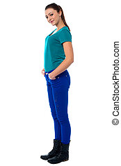 Stylish young girl posing casually