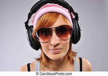 Stylish young girl with headphones