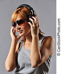 Stylish young girl with headphones