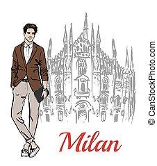 Stylish young man staying near Milan Cathedral, Duomo di...
