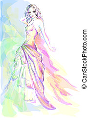 Stylish young woman portrait - Stylish young woman aquarelle...