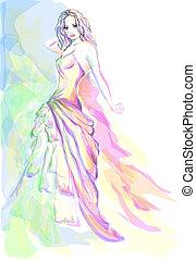 Stylish young woman aquarelle portrait