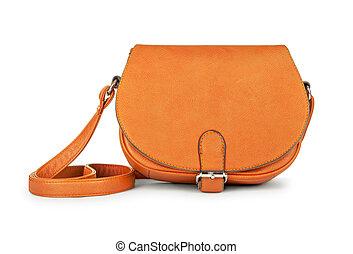 stylish youth orange leather bag isolated on white background