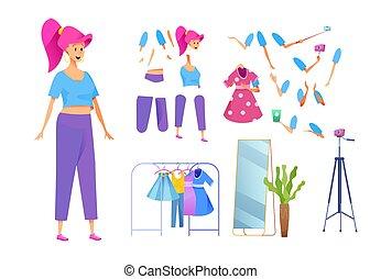 stylist, blogger, mode, vektor, pige, unge, sportsudstyr