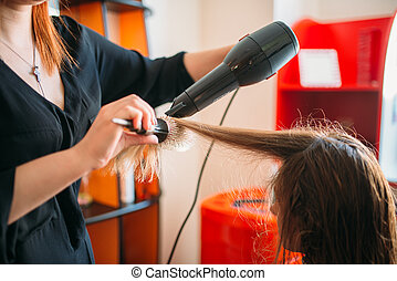 Stylist drying hair with a dryer, hairdressing