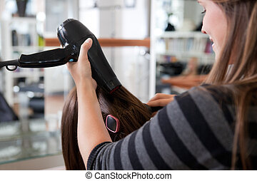 Stylist Drying Woman's Hair