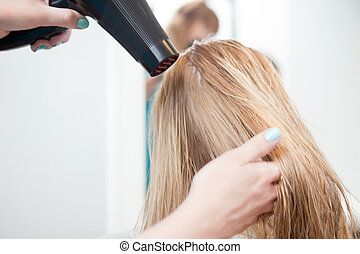 Stylist Drying Womans Hair - Stylist drying womans hair in...