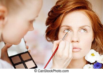 stylista, marki, makijaż, panna młoda, na, przedimek...