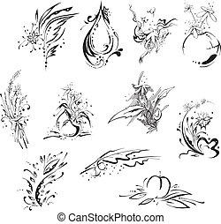 Stylistic flower embellishments. Vector set EPS8.