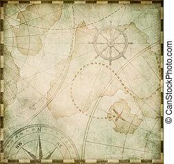 stylization, abstrakcyjny, piraci, stary, mapa