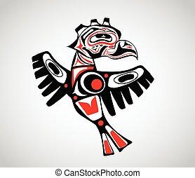stylization, indígena, tótem, pájaro, arte