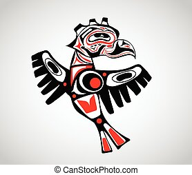 stylization, indígena, totem, pássaro, arte