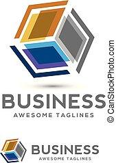 stylize 3d cube colorful logo