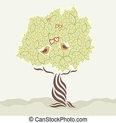 stylized, árvore, amor, dois pássaros