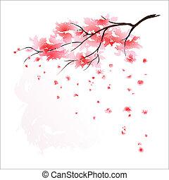 stylized, árvore cereja, japoneses