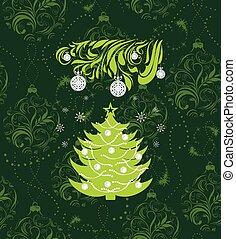 stylized, árvore., natal, fundo
