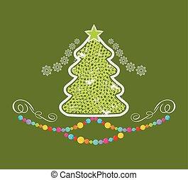 stylized, árvore verde, natal, fundo