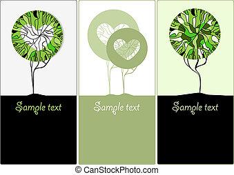 stylized, árvores verdes, para, design., vetorial, ilustração