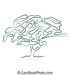 stylized, 나무, 실루엣, 고립된, 백색 위에서, 배경