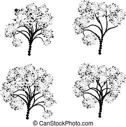stylized, 나무, 실루엣