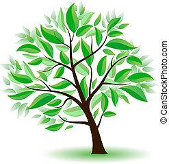 stylized, 나무, 와, 녹색, leaves.