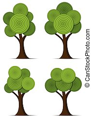 stylized, abstract, set, vector, bomen