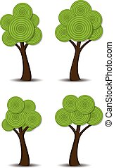 stylized, abstract, vector, groep, bomen