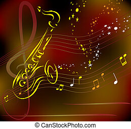 stylized, abstratos, vetorial, saxofone, fundo