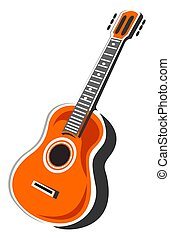 acoustic guitar - Stylized acoustic guitar isolated on a ...