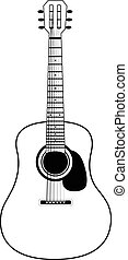 Stylized acoustic guitar isolated on a white background ...