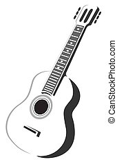 Stylized acoustic guitar silhouette isolated on a white background.