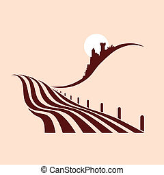 stylized agrarian landscape with a castle in the background
