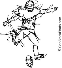 Stylized, Alternative looking Sketchy Football Player kicking the ball. EPS format for changing in Graphics Programs