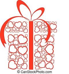 stylized, amor, presente, caixa, feito, de, vermelho, corações