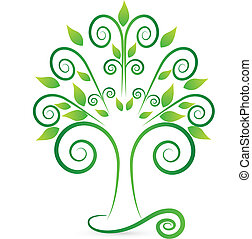 Stylized and swirly tree logo - Vector of stylized and...