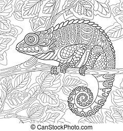 stylized, animal, camaleão