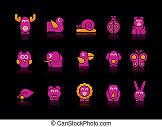 Stylized animals in a black background.