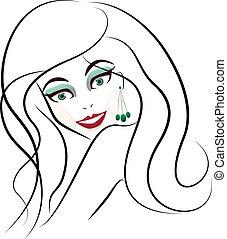 stylized, ansigt kvinde