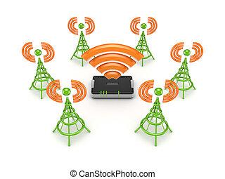Stylized antennas around router.