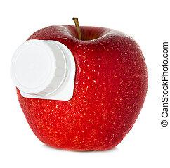 stylized apple juice package